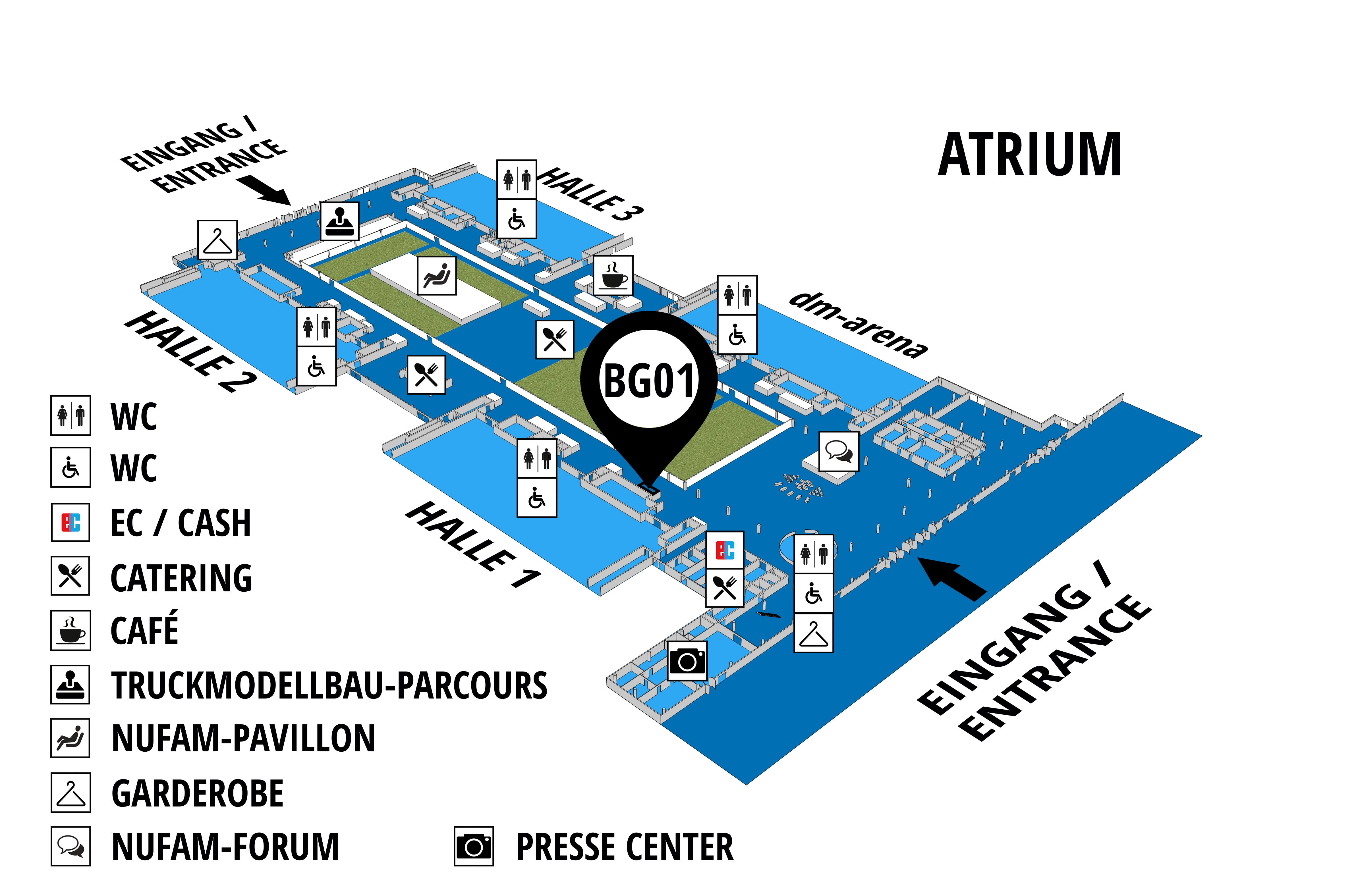 NUFAM 2019 - Trade fair for commercial vehicles hall map (Visitors circuit): stand BG 01