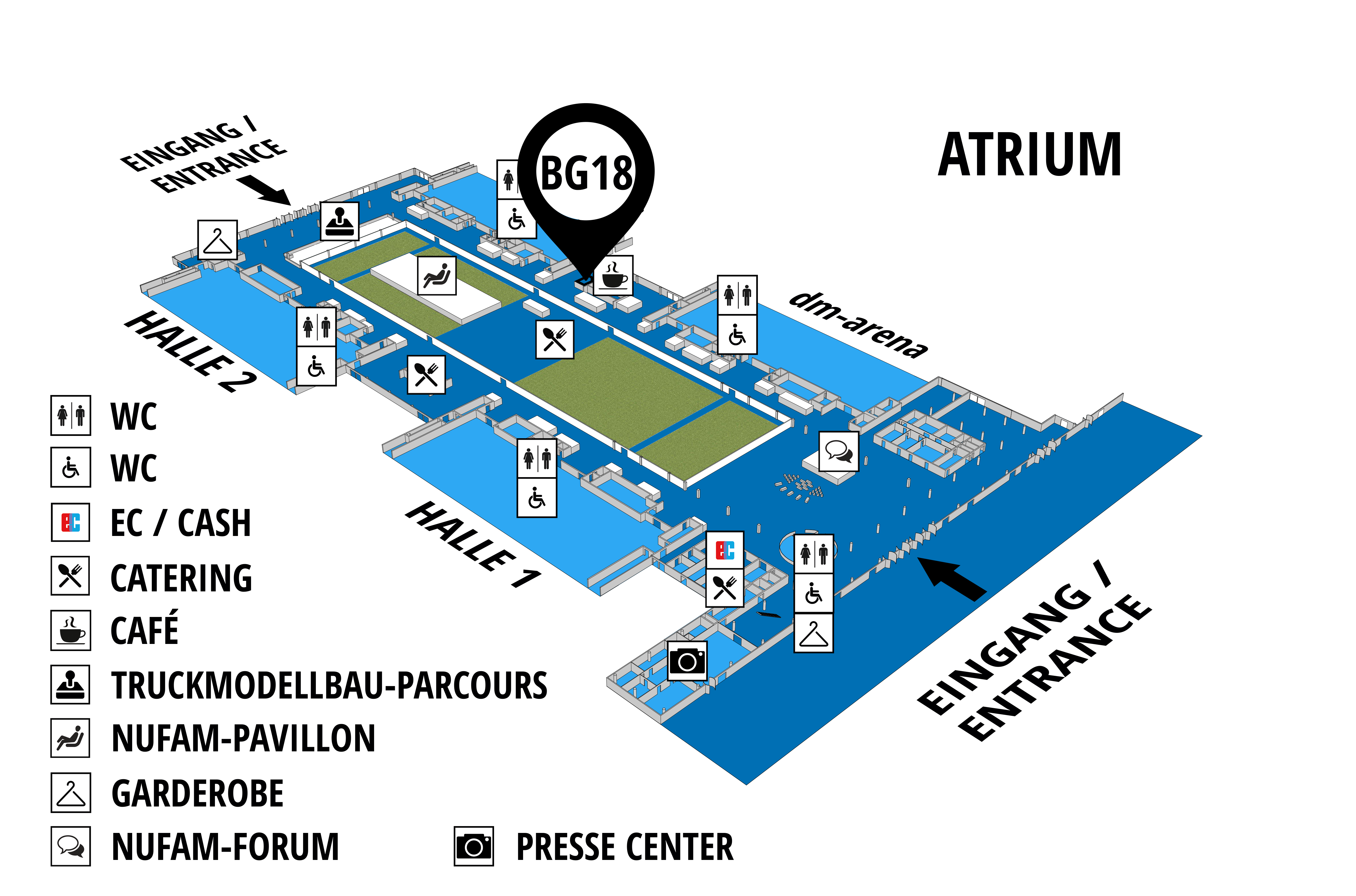 NUFAM 2019 - Trade fair for commercial vehicles hall map (Visitors circuit): stand BG 18