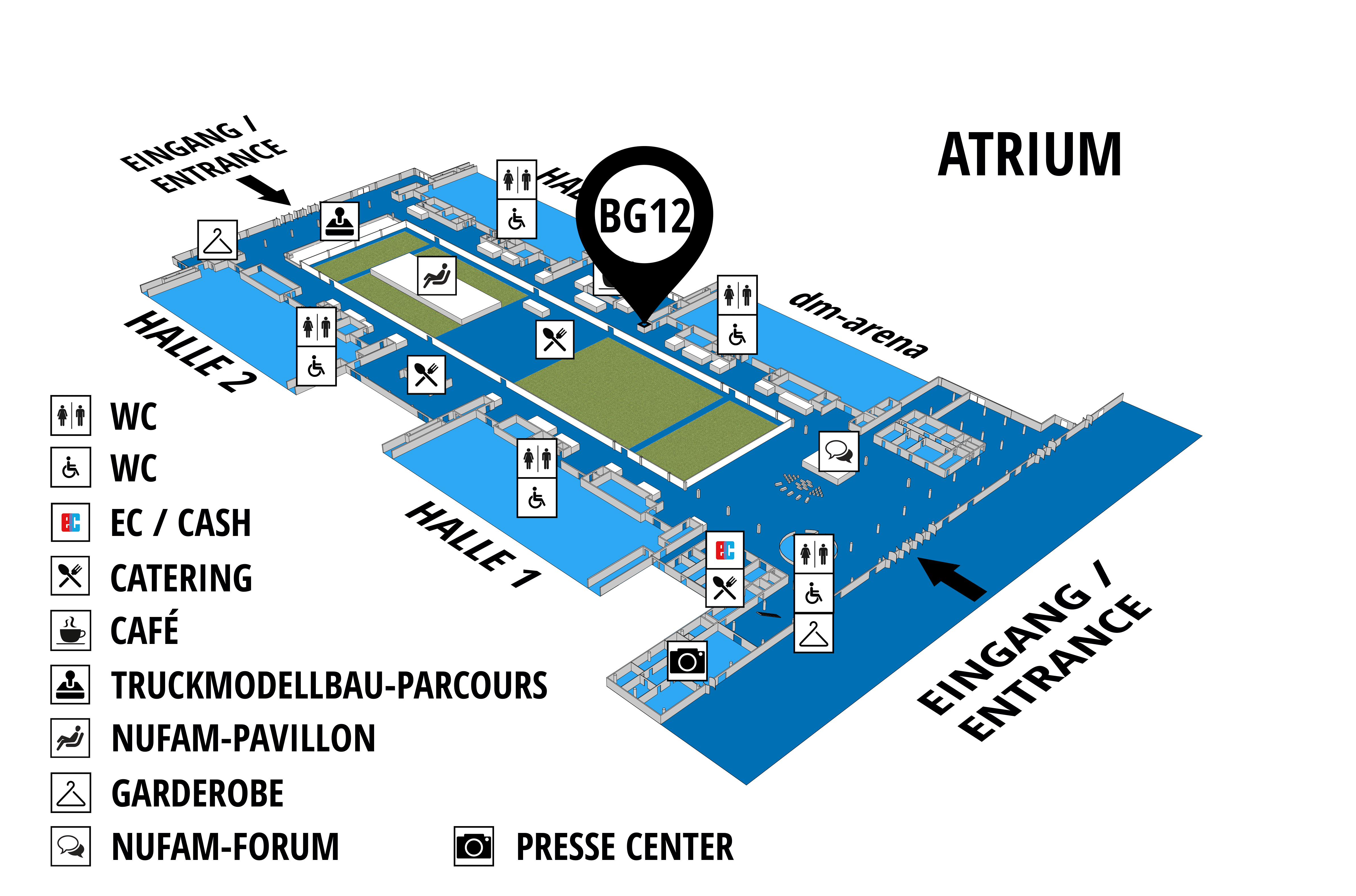 NUFAM 2019 - Trade fair for commercial vehicles hall map (Visitors circuit): stand BG 12
